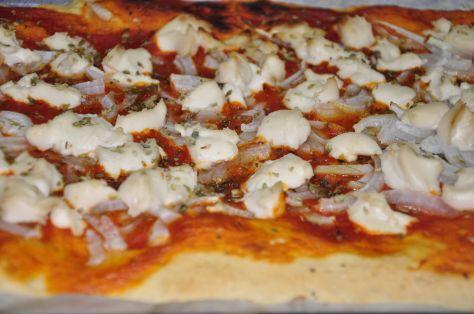 Pizza de cebolla sin lactosa