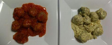 Albóndigas con salsa de tomillo y albóndigas con salsa de setas a la pimienta.
