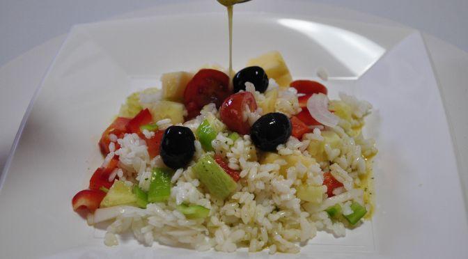 Ensalada de arroz y manzana