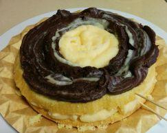 Crema pastelera y crema de chocolate