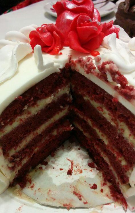 Corte de tarta red velvet