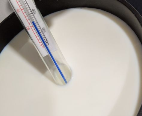 Medidor de temperatura en cazo de leche